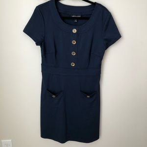 Connected Apparel Navy Dress with Gold Buttons